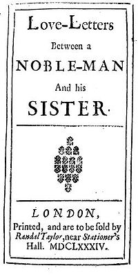 Title page of Love Letters between a nobleman & his sister