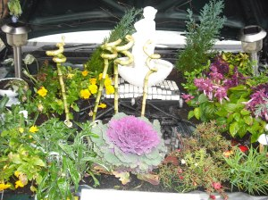 Flowers planted under car bonnet