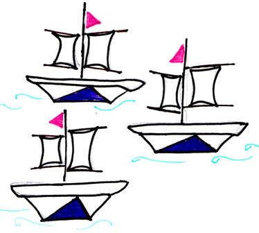 line drawing of three ships
