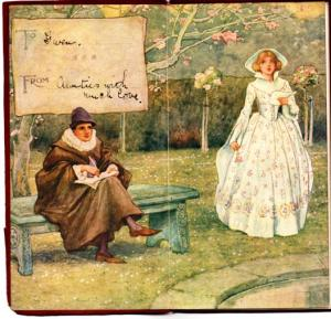 Frontspiece illustration of a poet and lady