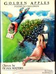 book cover with a girl and a boy reading and a golden appletree