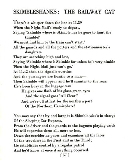 text of T.S. Eliot's poem Skimbleshanks