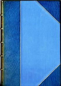 Book cover in blue leather binding