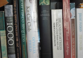 Section of non-fiction bookshelf