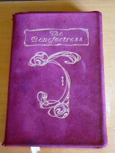 The Benefactress front cover showing gilded title & decoration