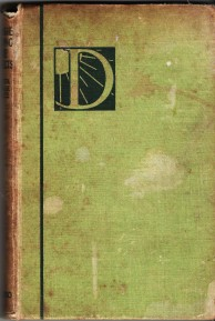 Cover of Dimsie Among the Prefects; faded green cloth with a letter D as decoration
