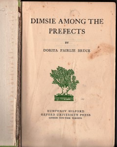 Decorative title pages of my edition of Dimsie Among the Prefects.
