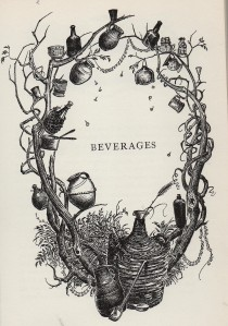 Black and white title page illustration for the chapter on beverages, showing entwined branches with culinary equipment hanging off them.