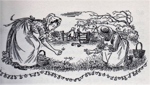 Black and white illustration of the author's mother and the maid picking cowslips, with the children in the background