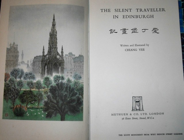 The title page of The Silent Traveller in Edinburgh showing a painting of the Scott Monument